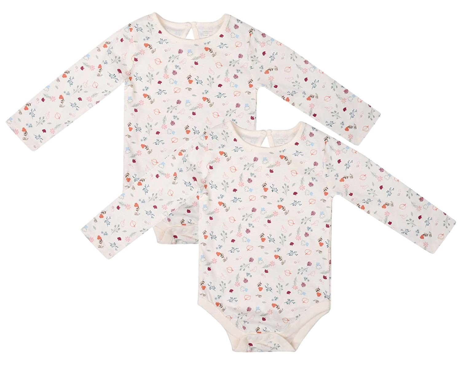 Ex UK Store Baby Girls 2 Pack Bodysuits Long Sleeve Floral Print