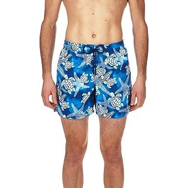 904241fc43 Vilebrequin Men's Moorea STARLETS & Turtles Swim Trunk, bleu Neptune, ...