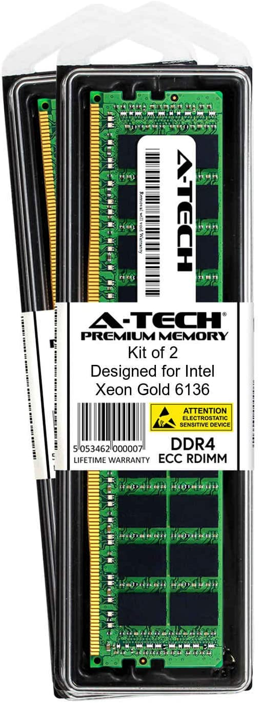A-Tech 32GB Module for Intel Xeon Gold 6136 AT360787SRV-X1R10 Server Memory Ram DDR4 PC4-19200 2400Mhz ECC Registered RDIMM 2rx4