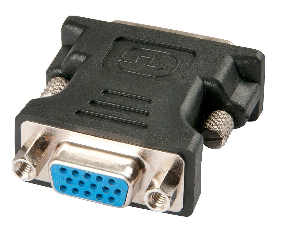 Lindy 41194 Adaptador de Cable VGA DVI-I Negro - Adaptador para Cable (VGA, DVI-I, Male Connector/Female Connector, Negro)