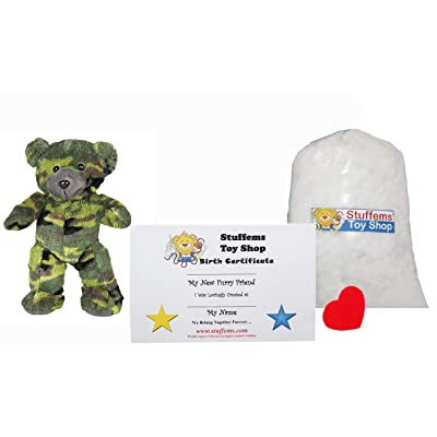 Make Your Own Stuffed Animal Mini 8 Inch GI The Camo Bear Kit - No Sewing Required!: Toys & Games