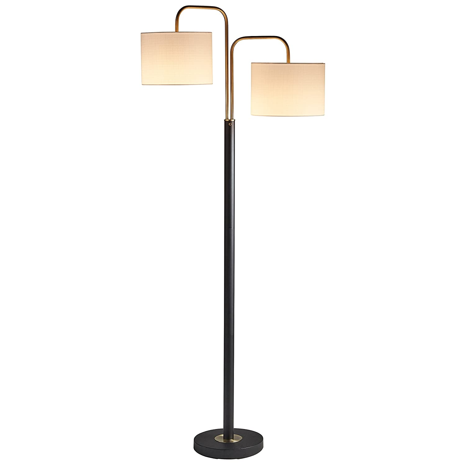 "Rivet Modern Floor Lamp, 62.5""H, With Bulb, Black & Antique Brass with Linen Shade"