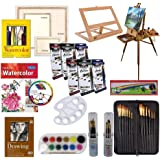 Artist Painting Set W/Table-Top & Full Easel, Art Painting Brushes, Paint Tubes, Painting Pads, Stretched Canvas…