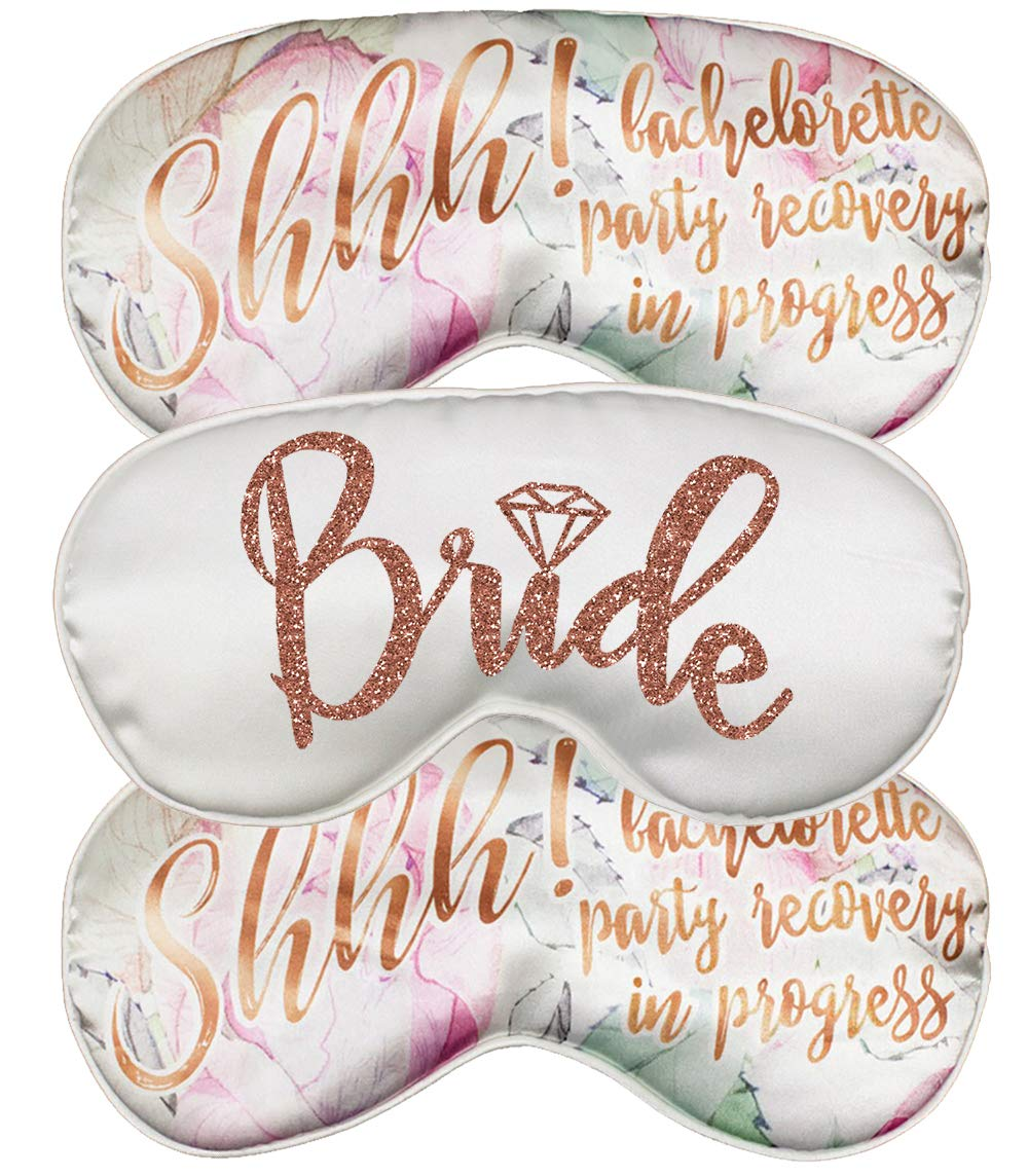 Rose Gold Bridal Party Favor Sleep Mask - Set of 3 - (1) Bride White, (2) Shhh! Bachelorette Party Recovery in Progress - Mask(RgBrd/2Shh) Wht by RhinestoneSash (Image #1)