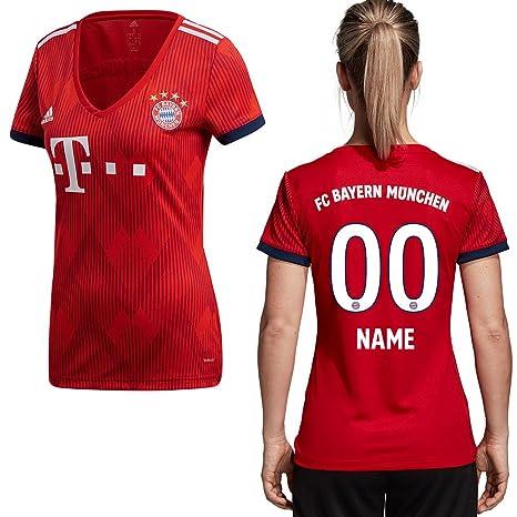 adidas FC Bayern München – Camiseta Camiseta Home 2018 2019 Mujer Jugador Nombre, Ihr Wunschname
