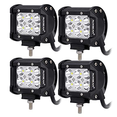 """Auxbeam 4 Pcs 4"""" LED Light Bar 18W LED Pods Spot Beam with 6pcs 3W LEDs Chips Driving Light Waterproof LED Bar (Without Wiring Harness): Automotive"""