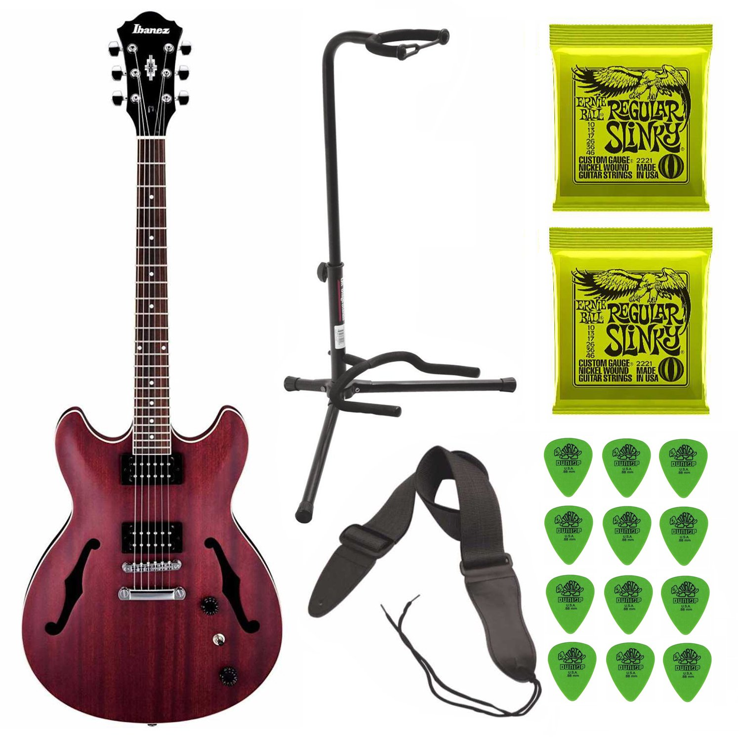 Ibanez Artcore Semi-Hollow Electric Guitar (Transparent Red Flat) Includes 2 Sets of Guitar Strings and Guitar Strap by Ibanez