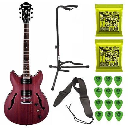 Ibanez Artcore - Guitarra eléctrica semihueca (color rojo translúcido, incluye 2 juegos de cuerdas