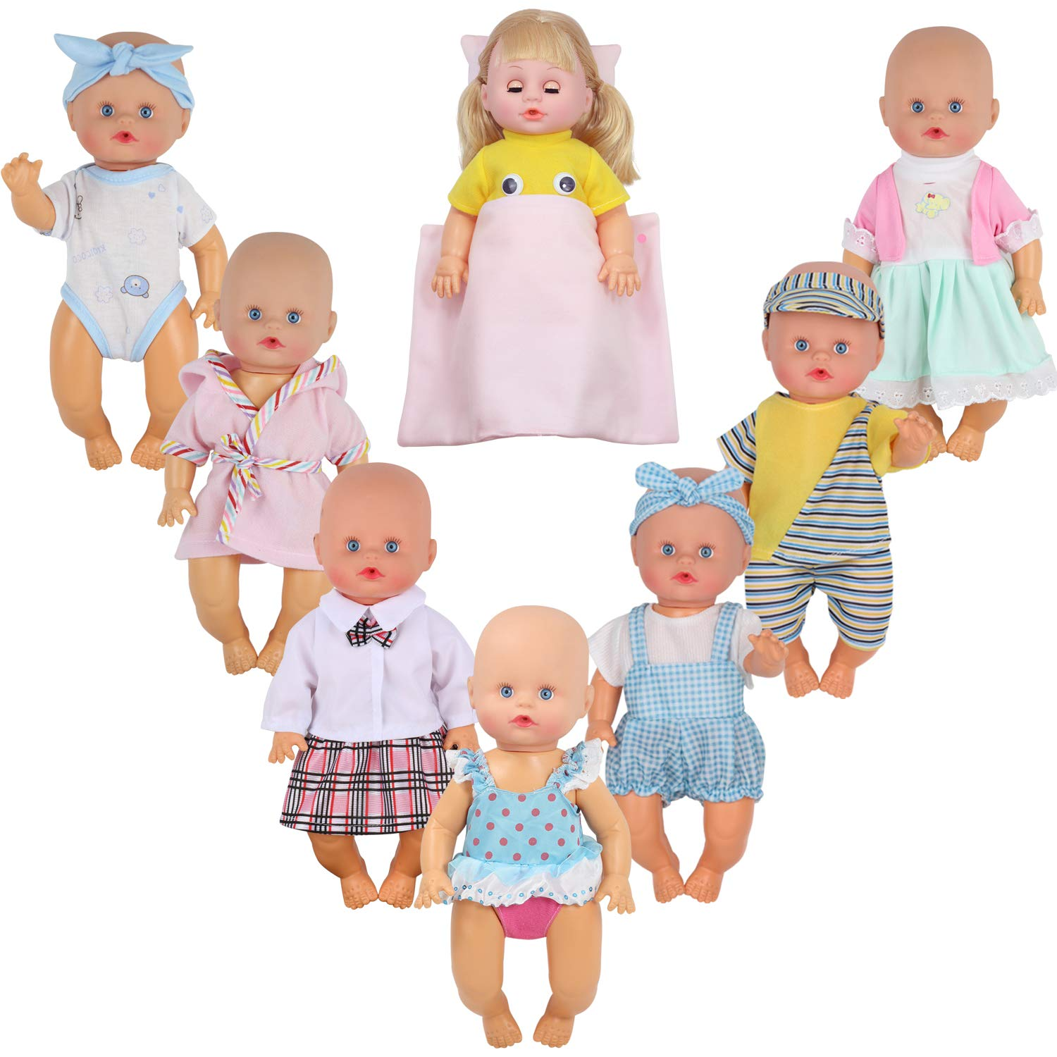 9 Sets for 8-9-10-11 Inch Baby Doll Clothes Reborn Newborn Outfits Costumes with Kitchen Accessory