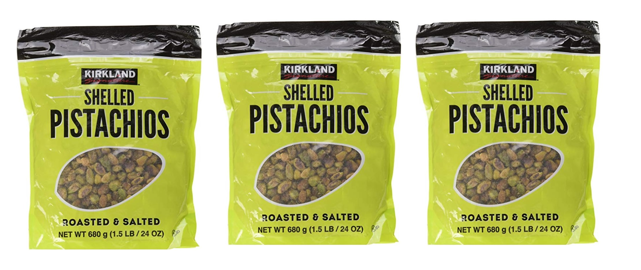 Kirkland Signature rIVapM Shelled Pistachios, Roasted & Salted, 24 oz (3 Pack)