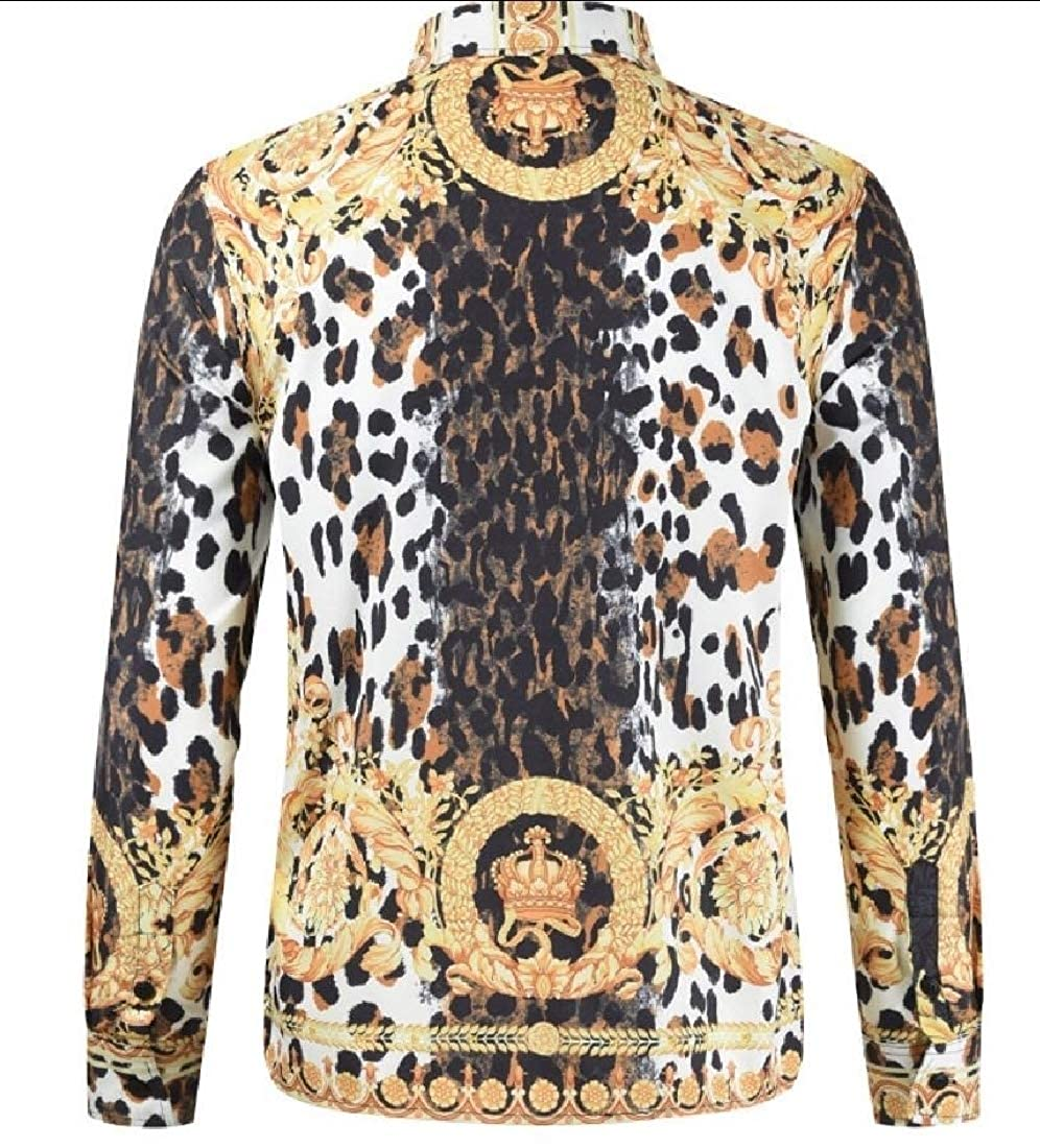 Tymhgt Mens Ethnic Patterns African Leisure Long Sleeve Button Front Shirts