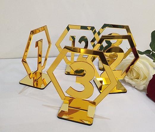 RUIXUAN - Números de mesa geométricos acrílicos para bodas ...