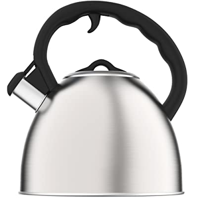 Vremi Whistling Tea Kettle for Stovetop - 2 Quart Tea Pot Stainless Steel Tea Kettle for Electric or Gas Stove Top - Cool Cute Modern Tea Kettle Teapot Hot Water Whistle - Small Retro Metal Tea Kettle