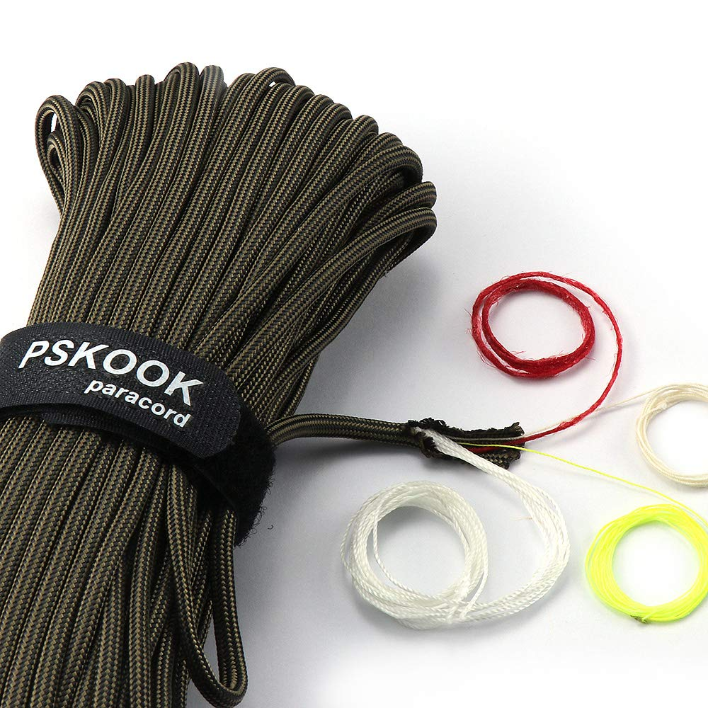 PSKOOK Survival Paracord Parachute Fire Cord Survival Ropes Bushcraft Red Tinder Cord PE Fishing Line Cotton Thread 7+3 Strands 25 100 Feet