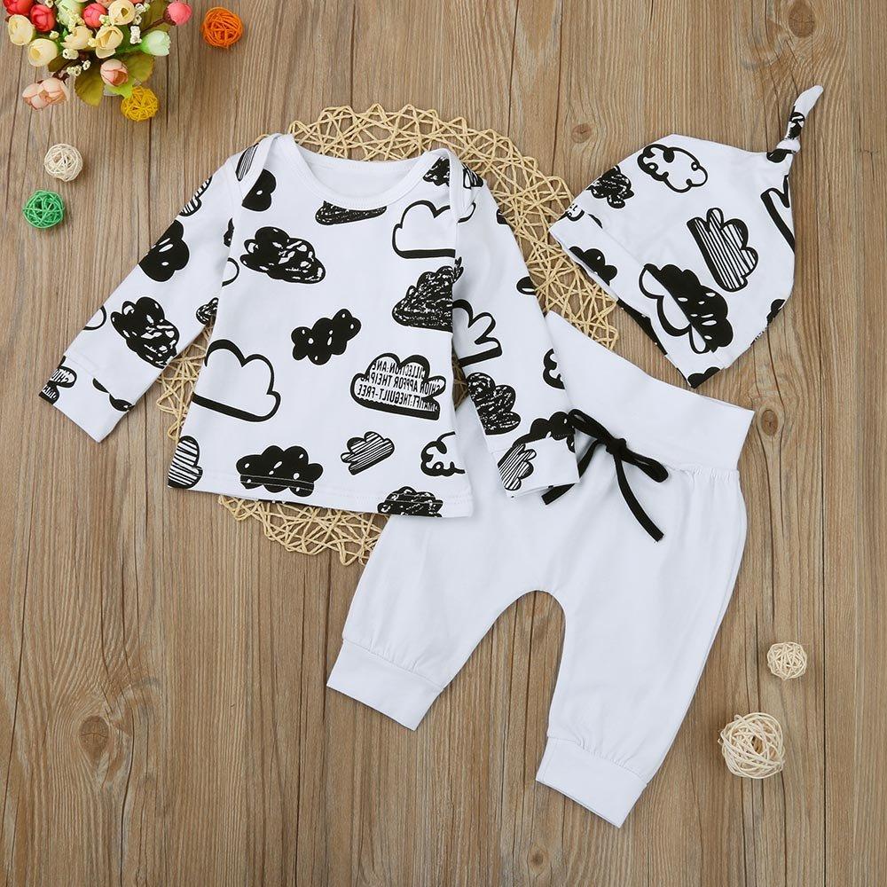 DAY8 Completini Neonato Cotone per 0~18 Mesi Regalo Neonato Baby Cloud Print Shirt Tops cap Set Vestiti per Bambini Costume Chic Pantaloni