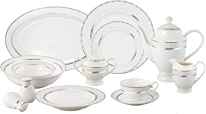 Lorren Home Trends La Luna Bone China 57-Piece Silver Embossed Design Dinnerware Set, Service for 8