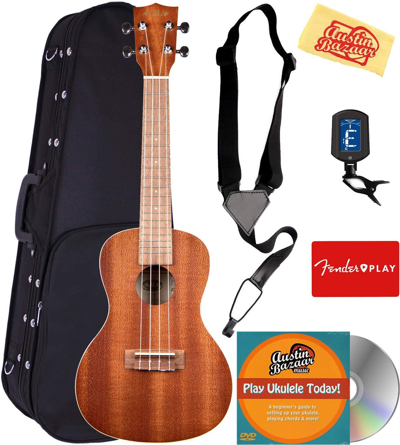 Kala KA-C Mahogany Concert Ukulele Bundle with Hard Case, Clip-On Tuner, Austin Bazaar Instructional DVD, and Polishing Cloth by Kala