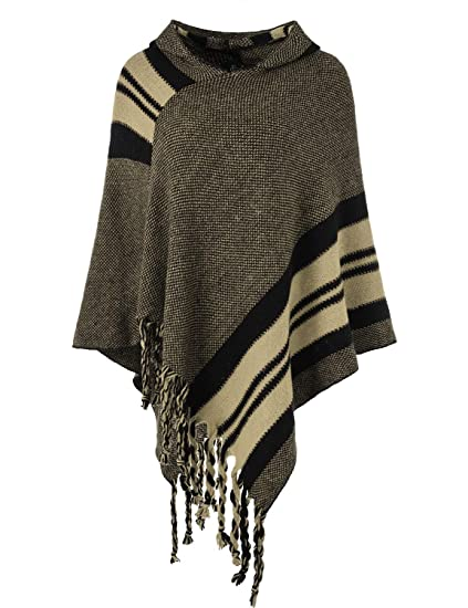 Ferand Womens Hooded Knit Striped Cape Poncho Sweater With Fringes