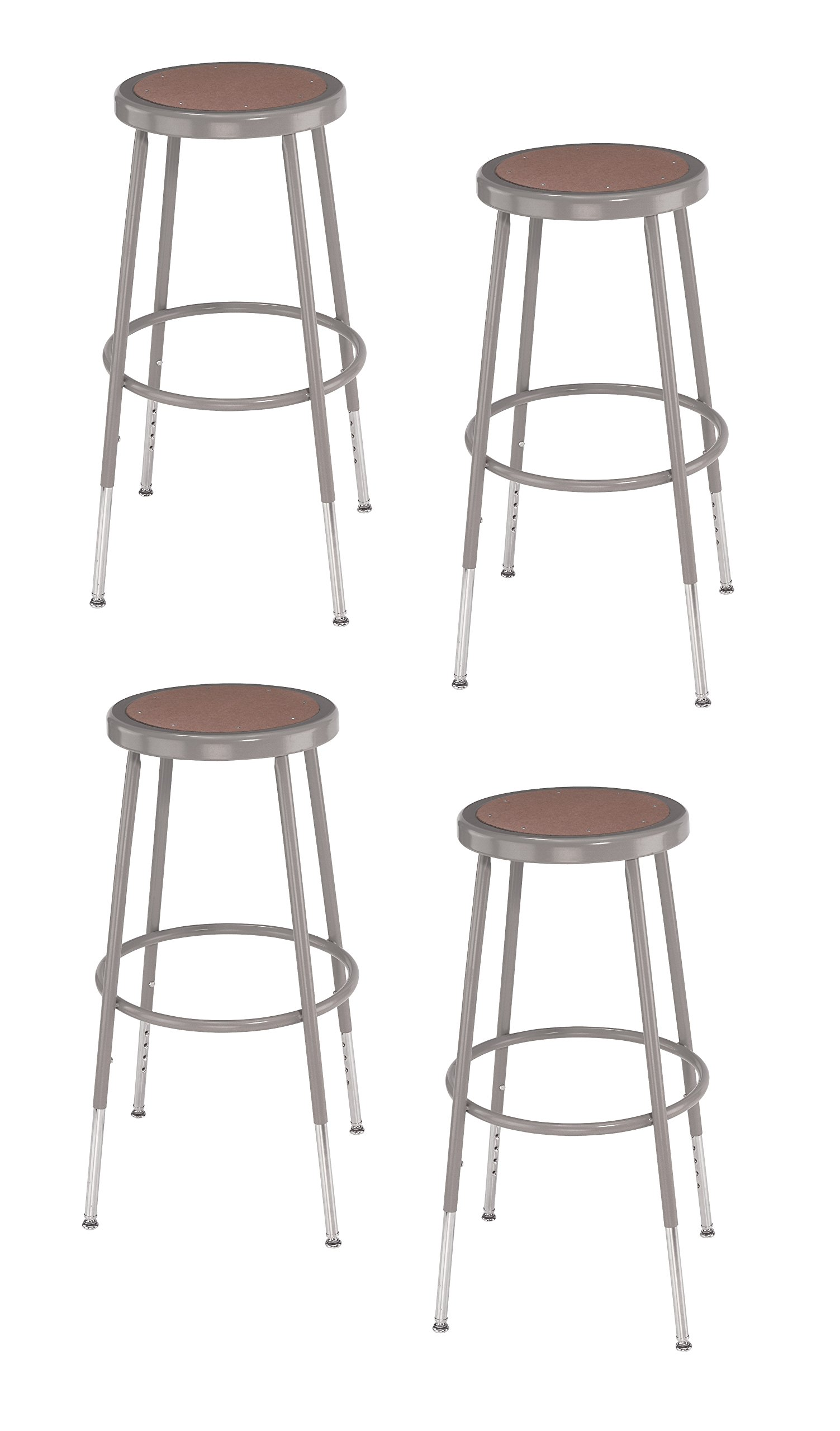 (4 Pack) National Public Seating 25''-33'' Height Adjustable Heavy Duty Steel Stool, Grey