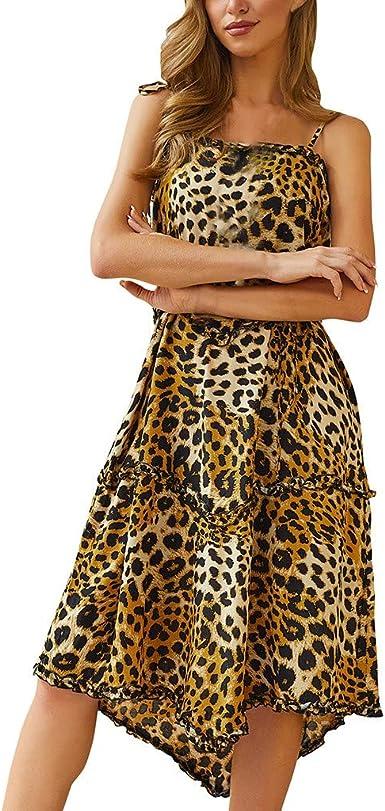 Vestidos Largo Gasa con Cuello en V y Punto Leopardo Estampado ...