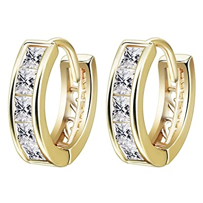 a18f64217d15 Vintage Earrings 18K Gold Plated Simple Style Inlay Round Cubic Zirconia  Small Hoop Earrings for Women  Amazon.co.uk  Jewellery