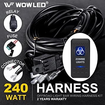 71GgYFoI8ML._SY355_ amazon com wowled waterproof zombie lights rocker switch led led light bar wiring harness amazon at edmiracle.co