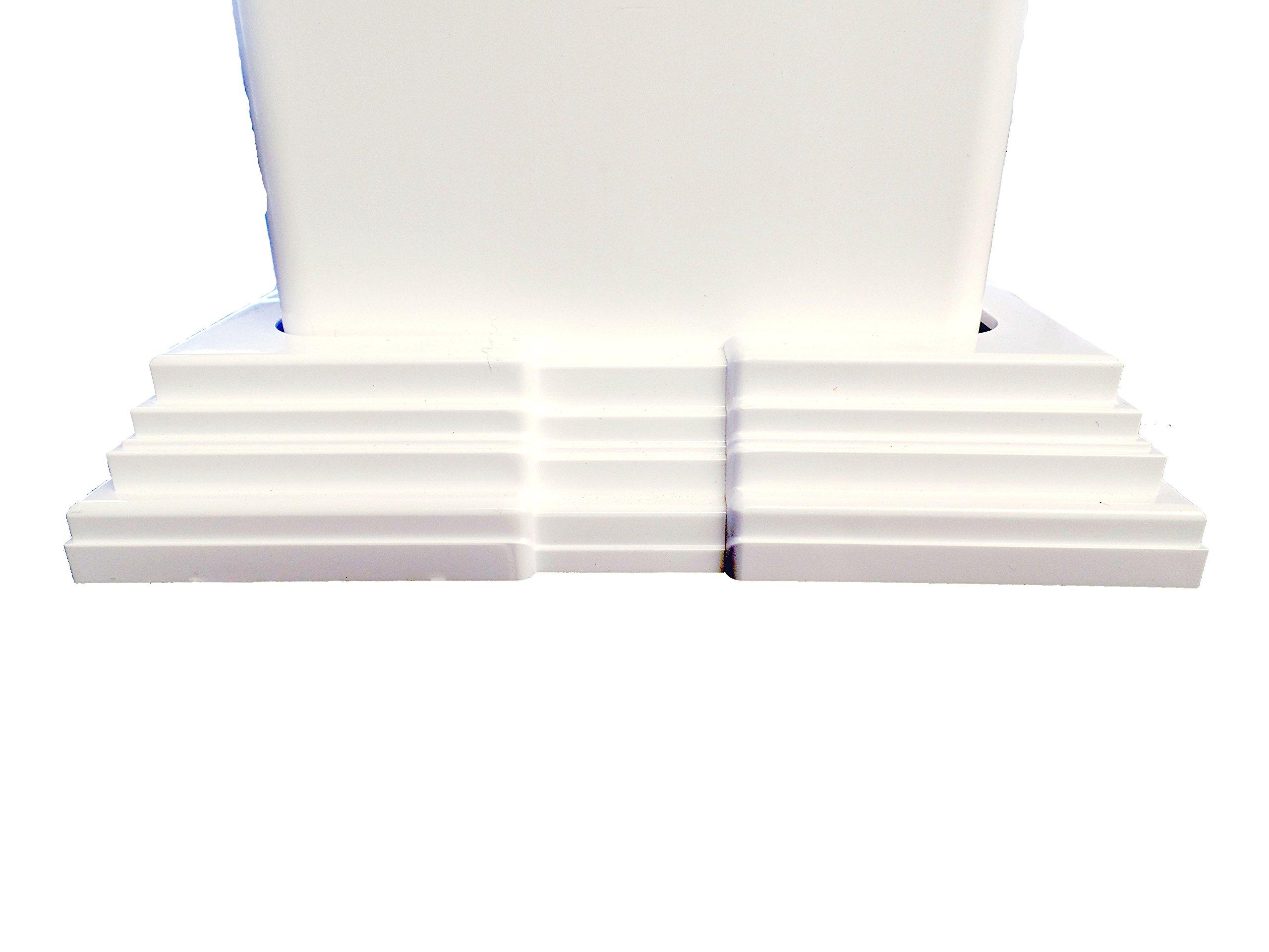 White Adjustable (4''-6.5'') Vinyl 4-pc ''Sleeve'' Trim Ring