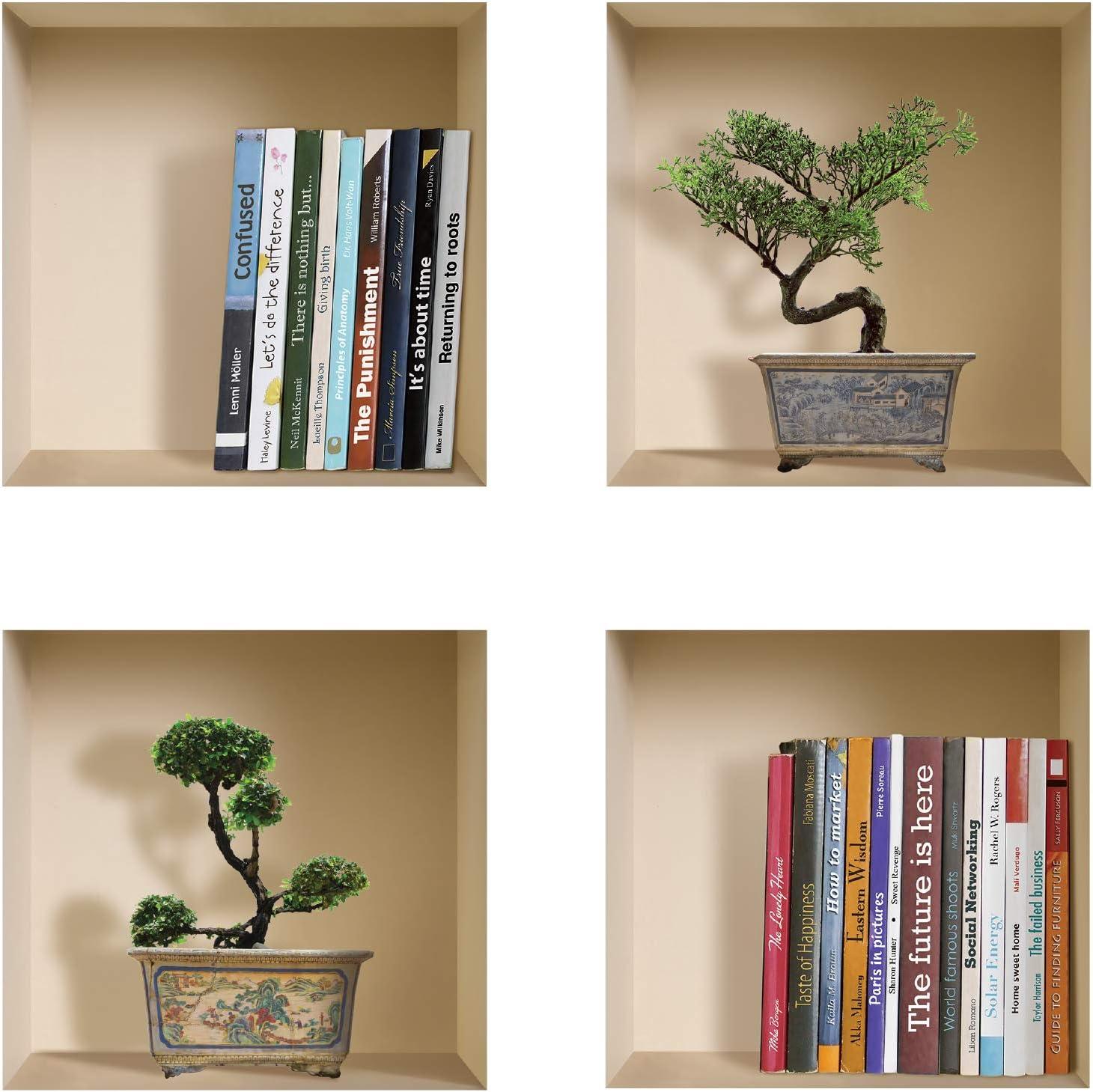 Vinilos 3D The Nisha  juego de 4 libros y bonsai (S45N)