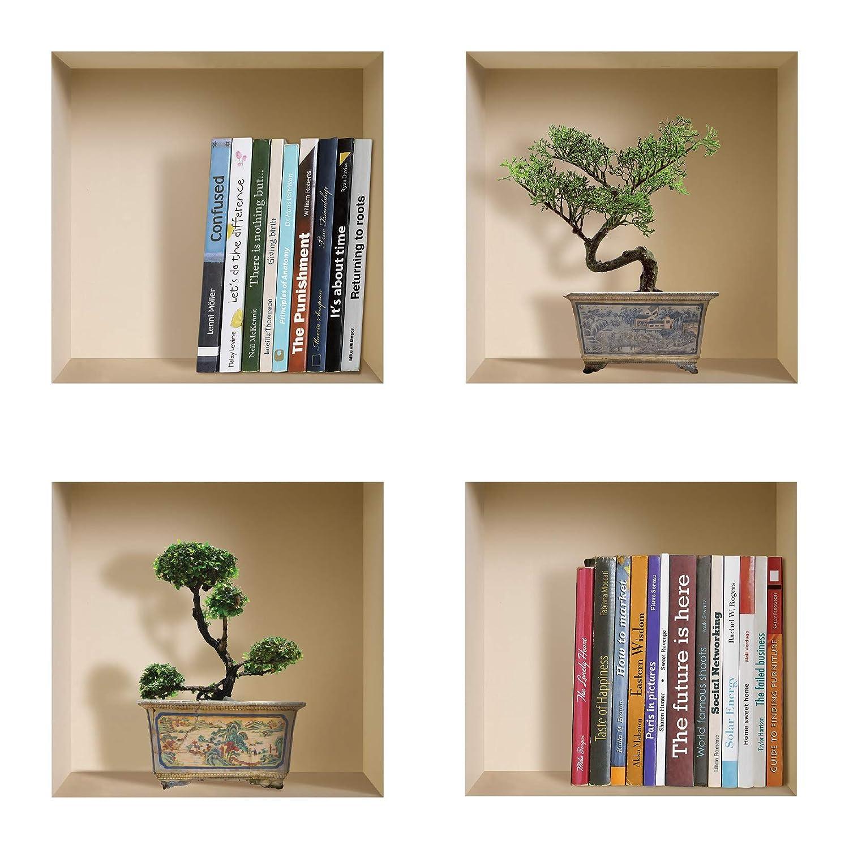 DIY Pegatinas Etiquetas para Pared Desmontables de Vinilo 3D Arte Mágico de Nisha, Conjunto de 4, Libros y Bonsai Verde