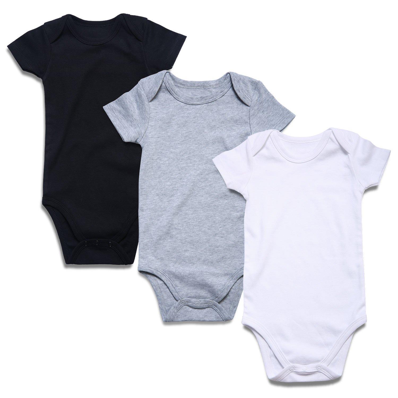 ROMPERINBOX Place Unisex Baby Bodysuits 100% Cotton 0-24 Months (3-6 Months, Black White Grey Short Sleeve)