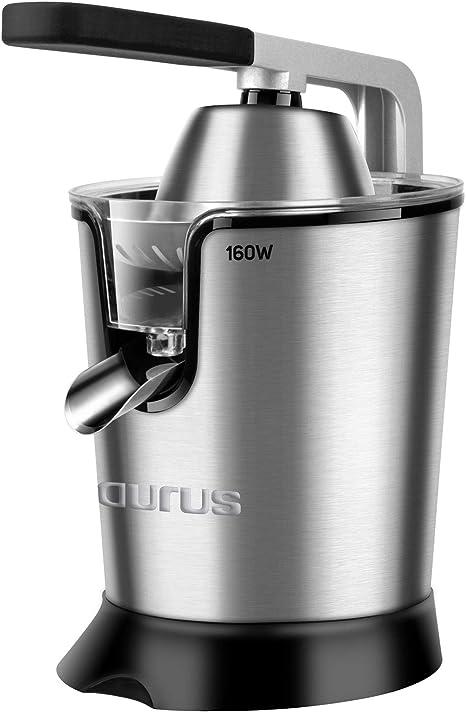 Taurus Easy Press Exprimidor eléctrico de Palanca de 160 W, 2 Conos para Todos los cítricos, 188 Acero Inoxidable y Filtro con regulador de Pulpa