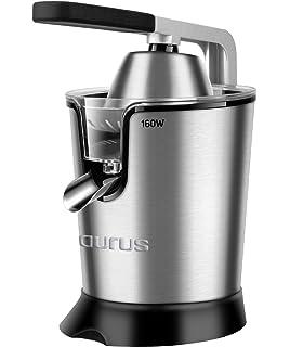 Taurus Easy Press 160W Exprimidor eléctrico de Palanca, 2 Conos para Todos los cítricos, Acero…