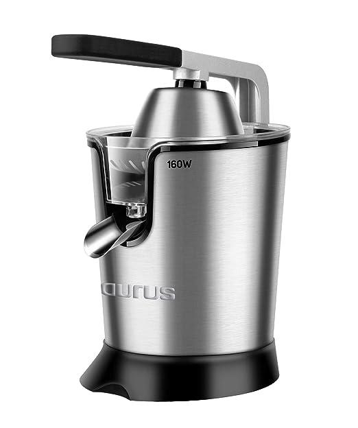 Taurus Easy Press Exprimidor eléctrico de Palanca de 160 W, 2 Conos para Todos los cítricos, 18/8 Acero Inoxidable y Filtro con regulador de Pulpa ...