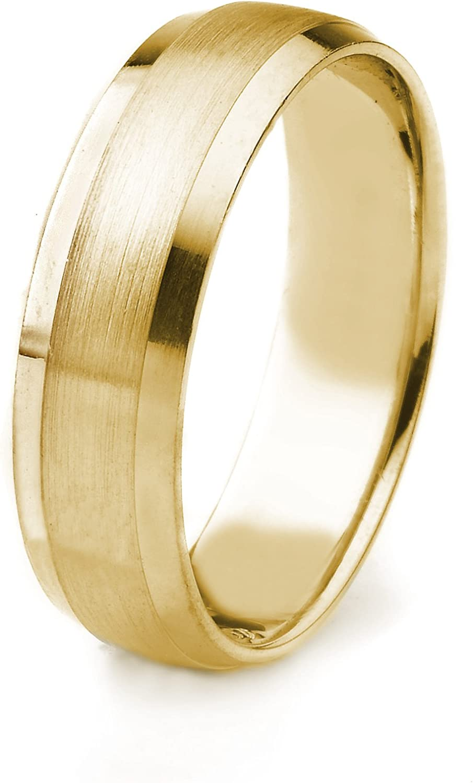 AFFINE Jewelry 10k Gold Mens Wedding Band with Satin Finish and Polished Beveled Edges Edges 6mm