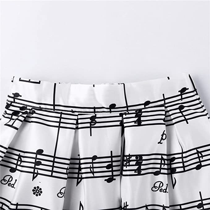 66084a16f Amazon.com: 2019 Winter Piano Music Note Melody Print High Waist Pleated  Ball Gown Satin Flared Midi Women Skirts,White,One Size: Clothing