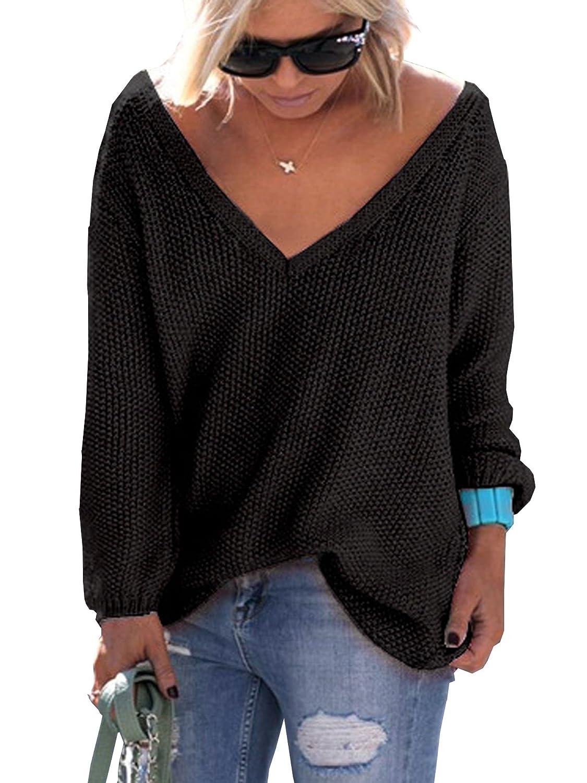 Elevesee Maglie Donna Inverno Eleganti Pullover V Scollo Manica Lunga Maglione Casual Sciolto Autunno Maglione Moda Sportiva Solido Outerwear Sweater