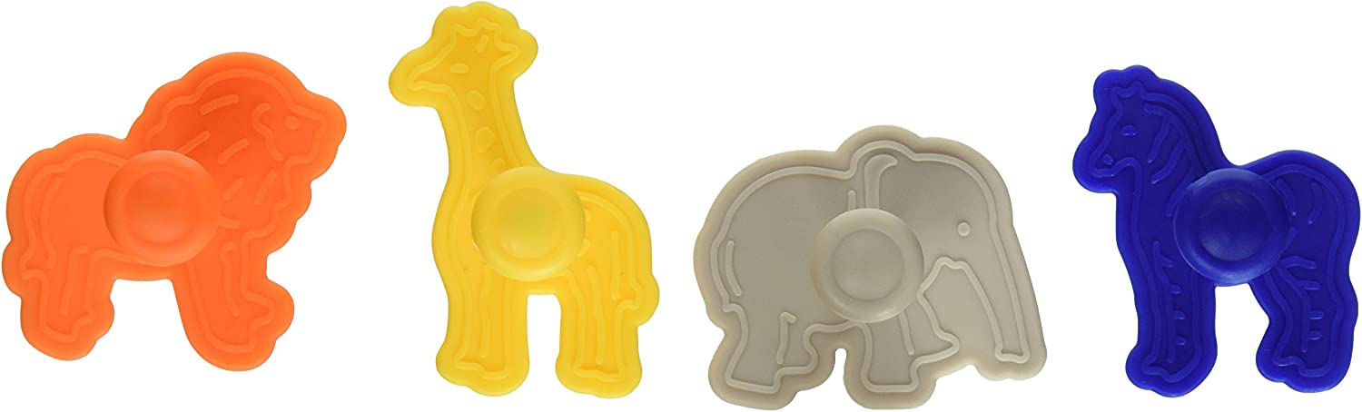 "R&M International 0 Animal Collection A 2"" Pastry/Cookie/Fondant Stampers, Giraffe, Zebra, Lion, Elephant, 4-Piece Set"