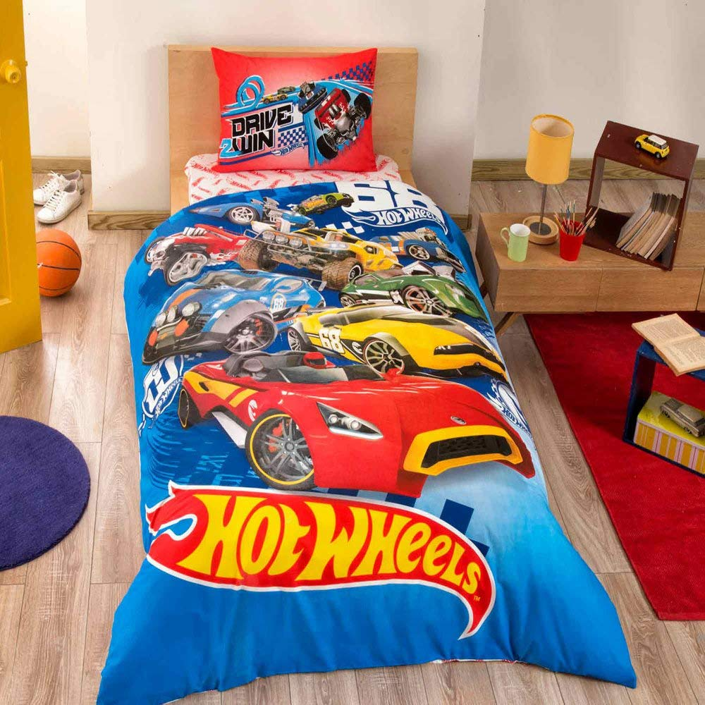 Disney Hot Wheels Boy's Duvet/Quilt Cover Set Single / Twin Size Hot Wheels Kids Bedding