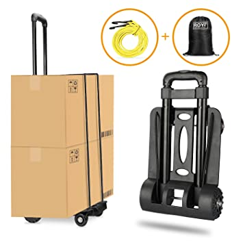 d2eea0647fde Folding Hand Truck, Wilbest 70 Kg/155 lbs Heavy Duty 4-Wheel Solid  Construction Utility Cart Compact and Lightweight for Luggage, Personal,  Travel, ...