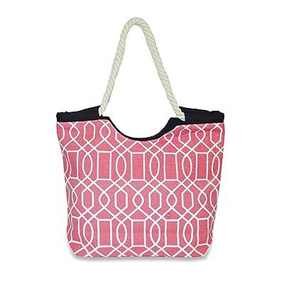 new Ever Moda Geometric Rope Handle Canvas Tote Bag