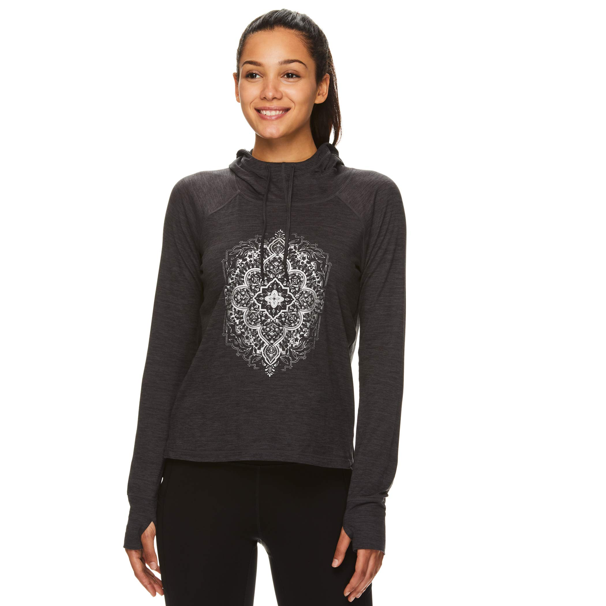 Gaiam Women's Pullover Hoodie Yoga Sweatshirt - Lightweight Long Sleeve Athleisure Sweater - Maya Gaiam Asphalt Grey Heather, Large by Gaiam