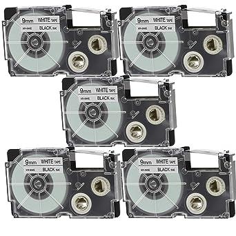 2PK Compatible Casio XR-12WE XR-12X Black on White 12mm Label Tape KL430 KL-120