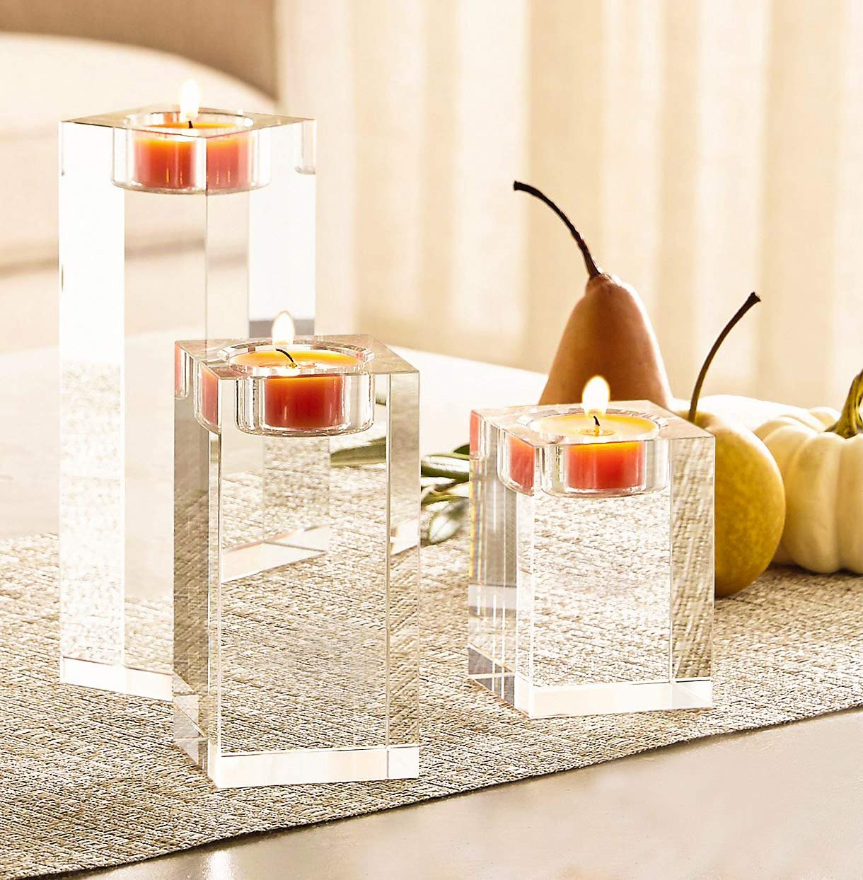 Amazing Home Huge Crystal Pillar Candle Holders 444 Set of 2,Decorative Home Decor LED Candles Stand,Prepackaged Elegant Heavy Solid Square Centerpieces for Home Decoration Party Wedding Ceremony Le Sens Amazing Home
