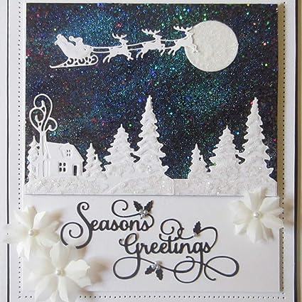 Merry Christmas Metal Cutting Dies DIY Scrapbook Paper Cards Album Photo Craft YESZ Cutting Die Silver