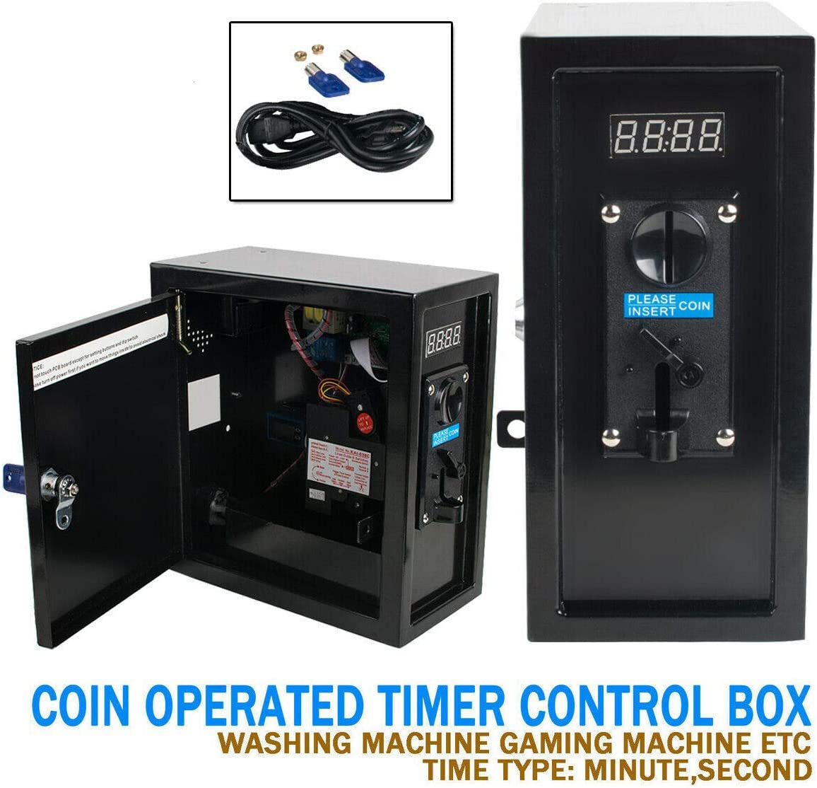 Coin Operated Timer 2 in 1 Time Control Box Electronic Device Coin Selector Acceptor Timer Power Supply Box with Multi Coin Acceptor for Washing Machine, Massage Chair TV 110V(Shipping from USA)