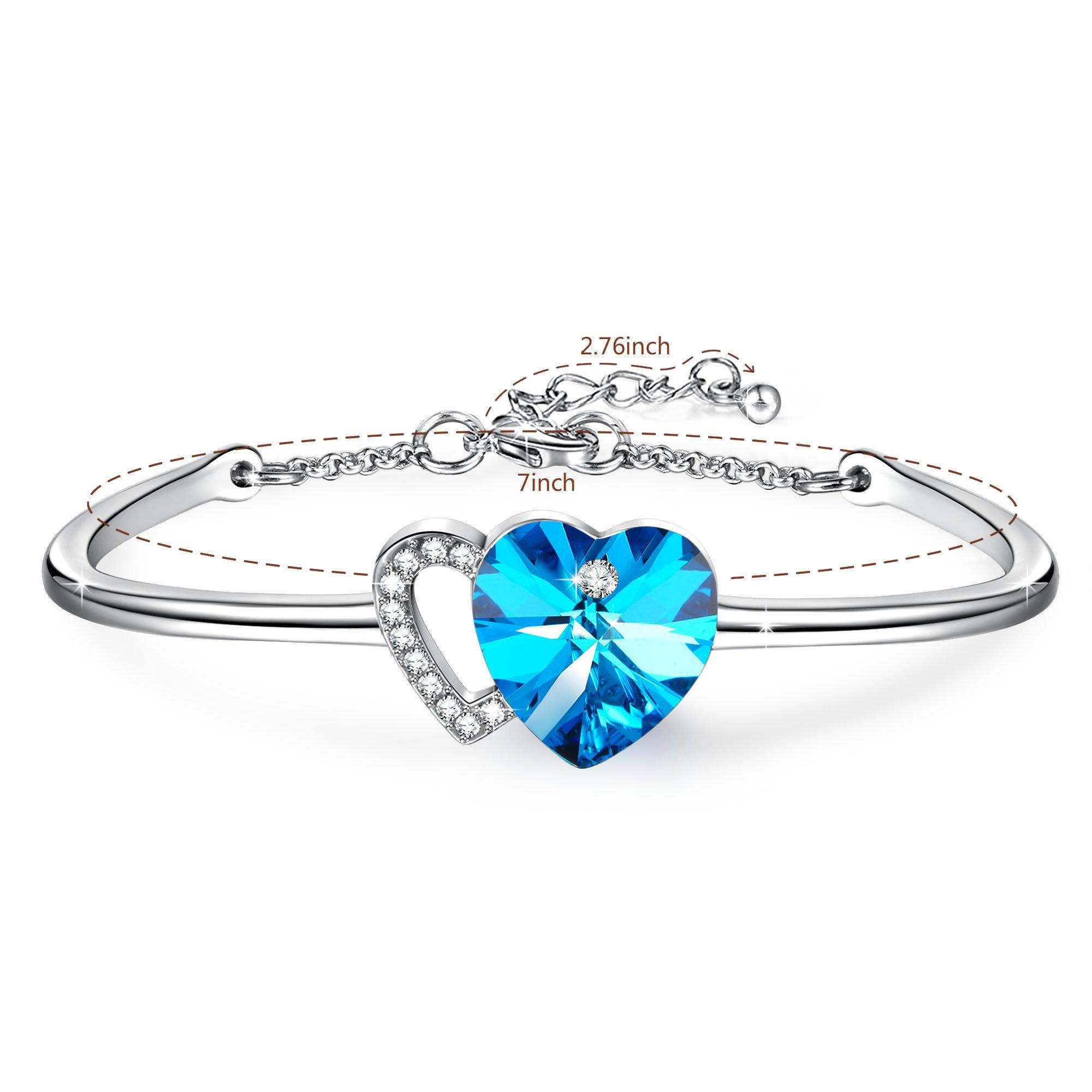 Angelady Love Story Heart Link Bangle Bracelet for Birthday Anniversary Wedding Gifts,Blue Crystal from Swarovski