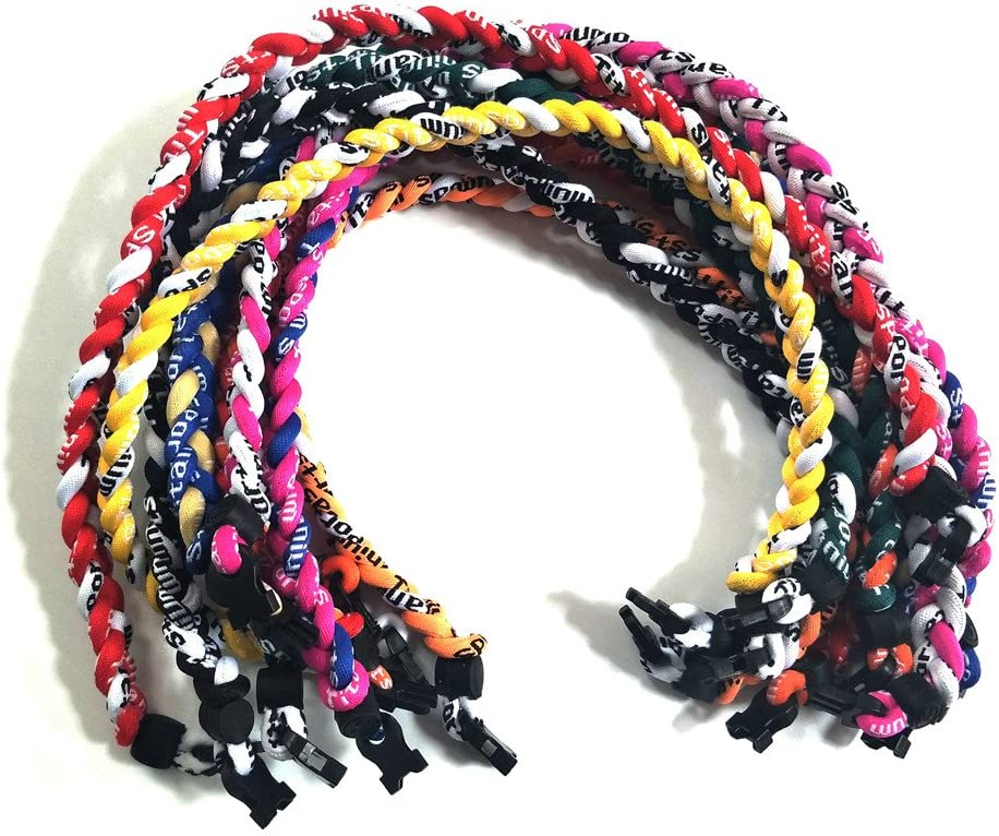 Sbeauty 18 Assorted 3 Rope Tornado Sports Titanium Necklaces Package of 10