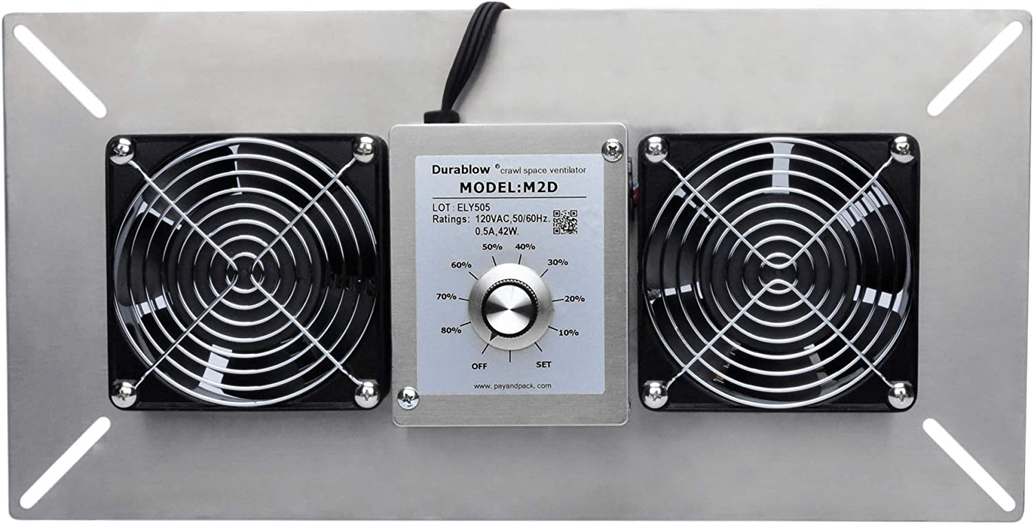 Durablow Crawl Space Foundation Dual Fans Ventilator