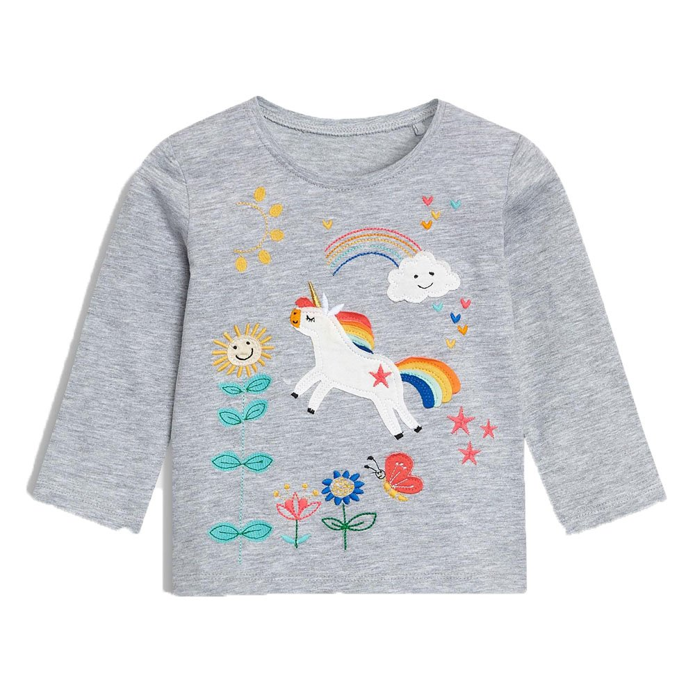 KIDSALON Little Girls'/Boys' Cotton Crewneck Solid Long Sleeve T-Shirt
