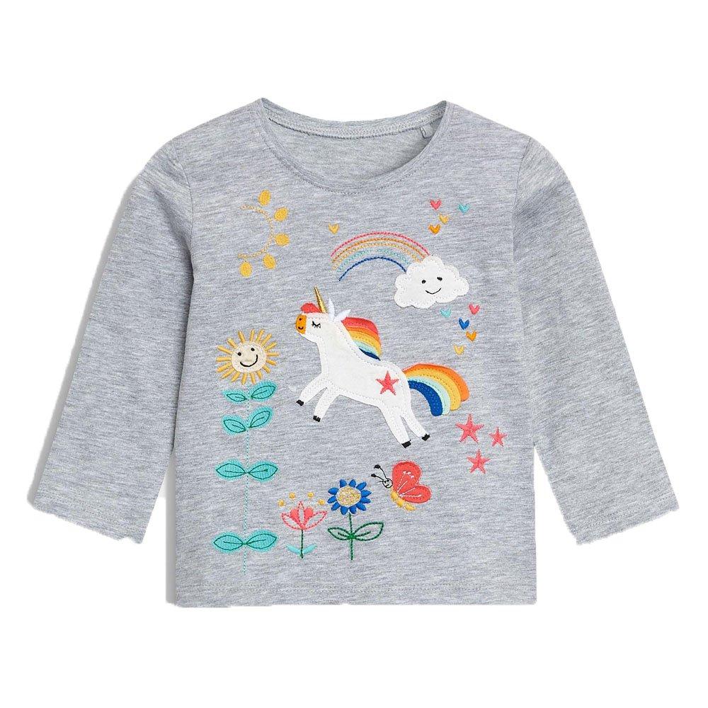 KIDSALON Little Girls'/Boys' Cotton Crewneck Solid Long Sleeve T-Shirt